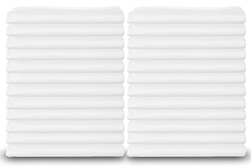 Standard White Pillowcases, T-180 Percale Hotel Linen (24 Pack)