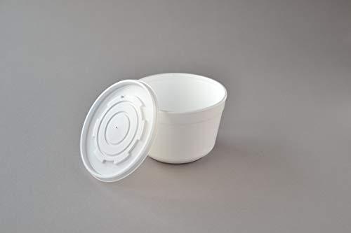 Suppenschalen EPS mit Deckel (16FC), 460 ml weiß isolierte Suppenterrine Einweg Schale Suppenbecher Take Away Suppenbehälter Styropor Thermoschale (300 Stück)