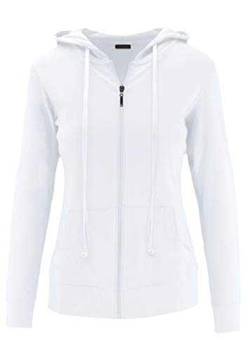 ClothingAve. Womens Lightweight Comfy Zip-Up Hoodie | Active, Casual, Running Cotton Blend Long Sleeve Jacket Zip-Up - White Medium