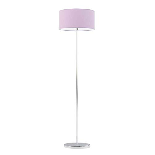 Lámpara de pie WERONA pantalla morado claro marco cromado