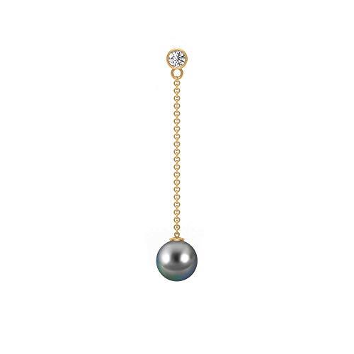 Pendientes colgantes de perlas de Tahití de 6 quilates, 1/4 quilates HI-SI, pendientes de diamantes redondos, pendientes de gota de perlas grises, 10K Oro amarillo, Par