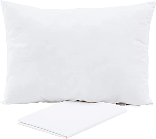 Toddler Pillow with Pillowcase - Soft Organic Cotton Baby Pillows for Sleeping - 13X18 Small Kids Pillow for Travel, Crib, Bed Set- White Pillows - Machine and Hypoallergenic