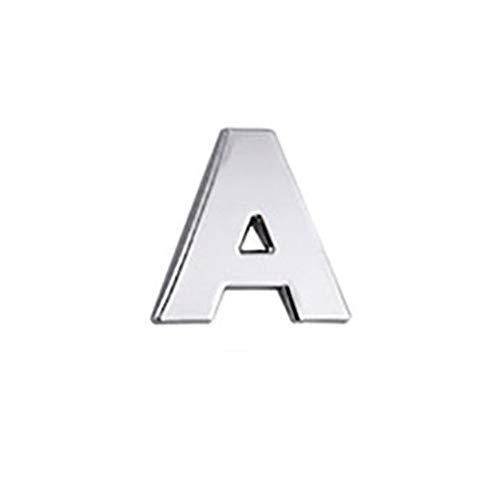Feketeuki Etiquetas engomadas del Coche de la Letra 3D del Coche Letras inglesas Logotipo del Coche DIY Pegatinas de Cuerpo de Metal alfanumérico Marca de la Palabra Cola Plata - Plata A