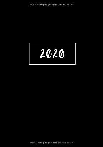 2020: ENE - DIC Agenda Semanal | 1 Semana en 2 Páginas | 52 Semanas Planificador y Calendario | A5 Negro