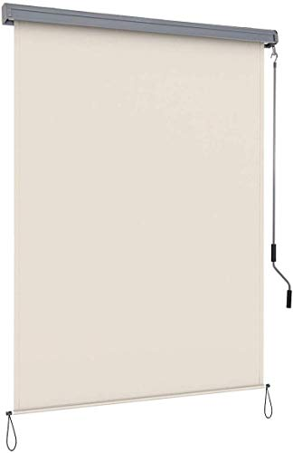 COSTWAY Toldo Vertical Multifuncional Estor Enrollable Protección de Privacidad Resistente a Sol para Hogar Oficina Terraza Patio (Beige, 1,6x2,5m)