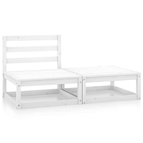 vidaXL - Set salotto da giardino in legno di pino massiccio, 2 pezzi, per esterni, mobili da giardino, terrazza, divano, cortile, colore: bianco