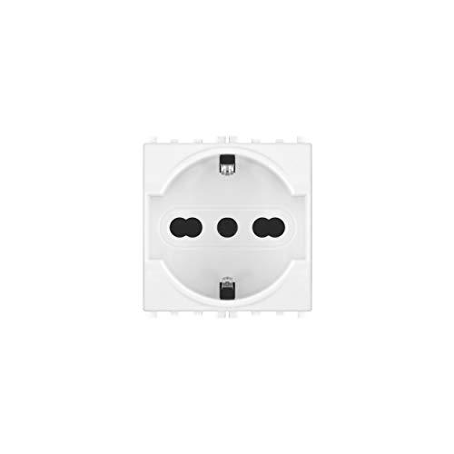 LineteckLED -TOT614B- Serie Completa Materiale Elettrico Fai da Te- Presa Schuko 3.0 16A 250V Compatibile vimar (Bianco)