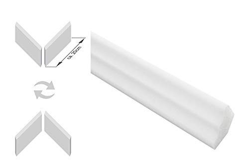 Zierleisten Sparpaket E-2-NK | inkl. vorgefertigte Ecken | leicht und stabil | extrudiertes Styropor | Stuckprofile | modern weiß | dekorativ | XPS | 17 x 25 mm | 20 Meter + 4 Ecken