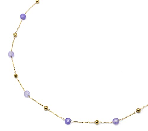 Oh My Shop CC3580 – Collar fino con bolas de acero dorado y piedras violeta