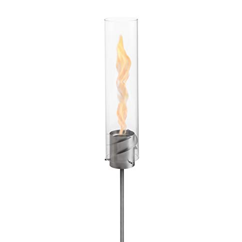 """höfats - High-quality bioethanol garden torch """"Spin"""" 120 silver made of stainless steel including refill box - for garden, terrace and camping"""