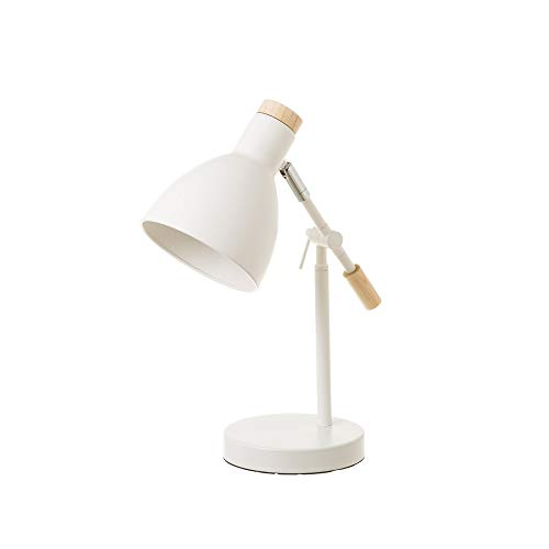 Lámpara flexo de escritorio nórdica de metal y madera blanca de 36 cm - LOLAhome