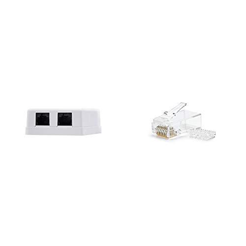 NanoCable 10.21.1502 - Roseta de superficie RJ45 con 2 toma de conexión Cat.6 UTP, blanco + 10.21.0201 - Conector para cable de red Ethernet RJ45, 8 hilos Cat.6 UTP, bolsa de 10 unidades