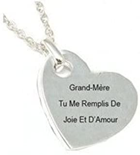 TOC Silvertone 'Grand-Mère Tu Me.' Sentiment Heart Pendant On 18 Inch Chain