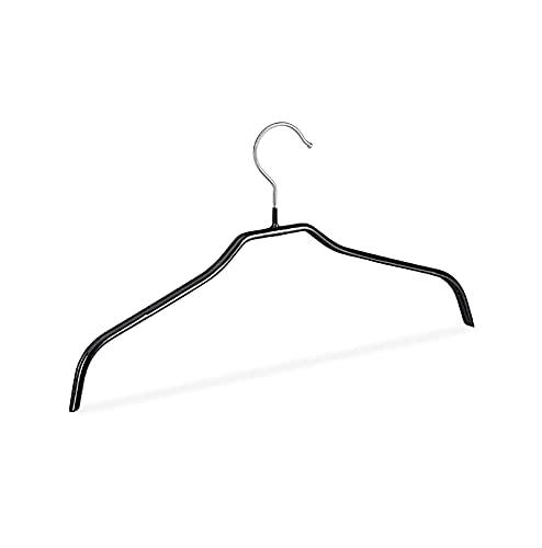Qasole Percha Antideslizante, Conjunto De 10, Percha De Camisa, Soporte Bluster con Funda De Goma, Metal, 42 Cm