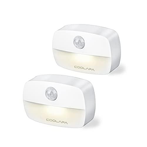 luz de Noche,COOLAPA Luz Nocturna LED con Sensor de Movimientom, Blanco cálido,Funcionan con Pilas, Adecuada para Dormitorio, Habitación Bebé,Baño, Inodoro, Escaleras, Cocina, Pasillo (Color2)
