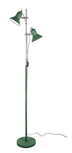 Present time - Lampadaire 2 spots métal vert et chrome SLENDER