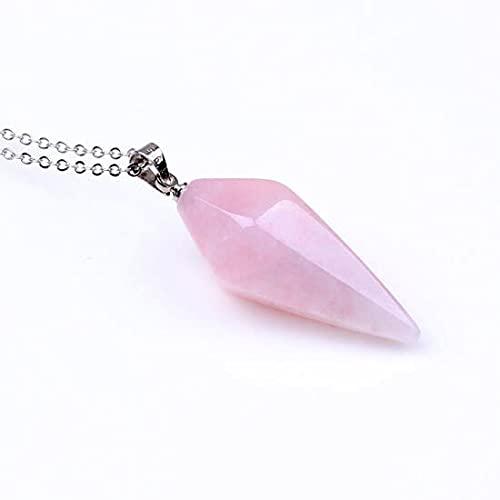 WKqifeil Piedras Naturales chapadas en Plata, pirámide Hexagonal, Colgante de Piedra de Cristal de Cuarzo Rosa Rosa, Collar de amatistas con joyería de Cadena