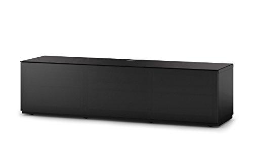 Sonorous STA 260T-BLK-BLK-BS stehende TV-Lowboard mit versteckten Rollen, schwarzer Korpus, obere Fläche, gehärtetem Schwarzglas und Klapptür mit schwarzem Akustikstoff