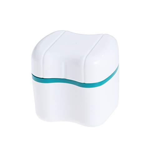 EXCEART - Caja de almacenamiento para guardar dentaduras de baño con colador para limpieza de viaje (verde)