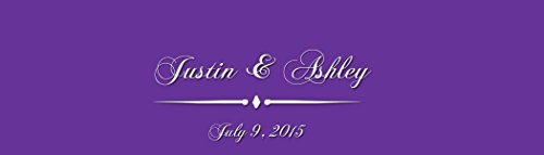 """100 Purple Opulence Wedding Anniversary Engagement Party Water Bottle Labels 8""""x2"""""""