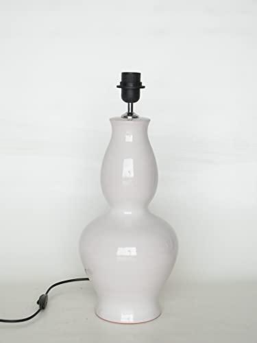 POLONIO Lámpara de Ceramica Sobremesa Grande Salon Color Blanco 40 cm E27,...