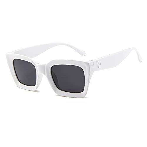 NJJX Gafas De Sol Cuadradas Vintage Para Mujer, Gafas De Sol Con Remaches A La Moda, Gafas De Plástico Retro Para Hombre, Gafas De Sol Para Mujer, Blanco-Negro