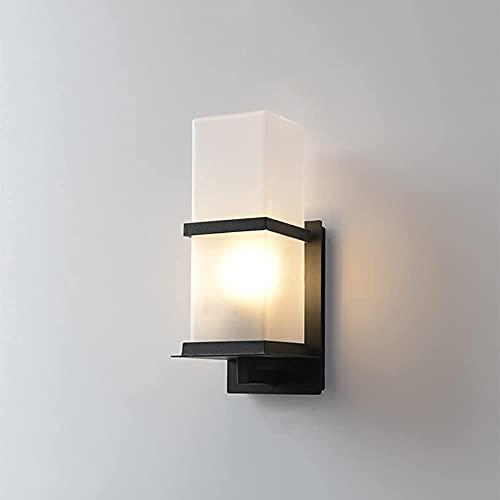 Linterna de vidrio cuadrada moderna para pared exterior Scocne minimalista, impermeable, accesorio de lámpara de pared, aluminio fundido a presión, carcasa negra, enchufe E27, luz de pared para vill