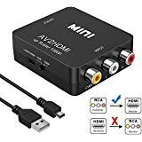 RCA to HDMI Converter, Amtake 1080P RCA Composite CVBS AV to HDMI Video Audio Converter Adapter Compatible with N64 Wii PS2 Xbox VHS VCR Camera DVD, Support PAL/NTSC with USB Power Cable