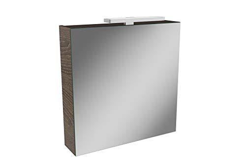 Lanzet LED Spiegelschrank L2 / Badschrank mit LED Leuchte/Maße (B x H x T): ca. 60 x 68 x 14,5 cm/Möbel fürs Bad oder WC/Schrank mit Spiegel / 1 Tür/Türanschlag Links/Korpus: Braun dunkel