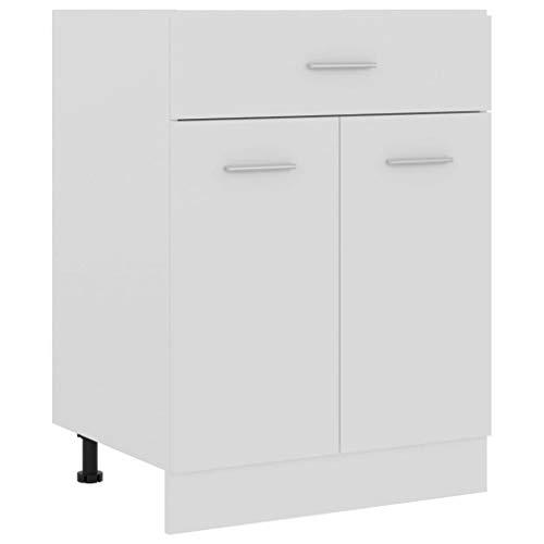vidaXL Schubunterschrank mit 2 Regalböden 1 Schublade Schrank Küchenzeile Küchenmöbel Unterschrank Küchenschrank Weiß 60x46x81,5cm Spanplatte