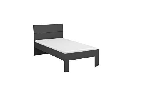 Rauch Möbel Flexx Bett Futonbett in Grau-Metallic Liegefläche 90 x 200 cm Gesamtmaße Bett BxHxT 95 x 90 x 209 cm