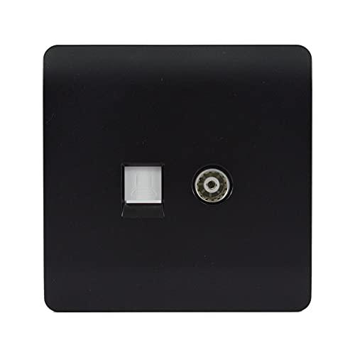 Trendi - Enchufe coaxial para TV (RJ45, Cat 5e y Cat 6), color negro mate