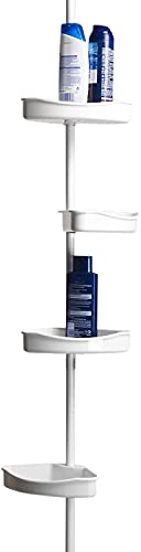MSV Servite/étagère en Plastique pour Douche, dangle, Blanc, télescopique, Extensible jusquà 245 cm