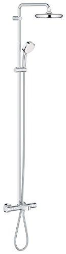 Grohe Tempesta Cosmopolitan 210 - Sistema de ducha con termostato para baño y ducha, alcachofa de 210mm y teleducha de 100mm con doschorros (26223001)