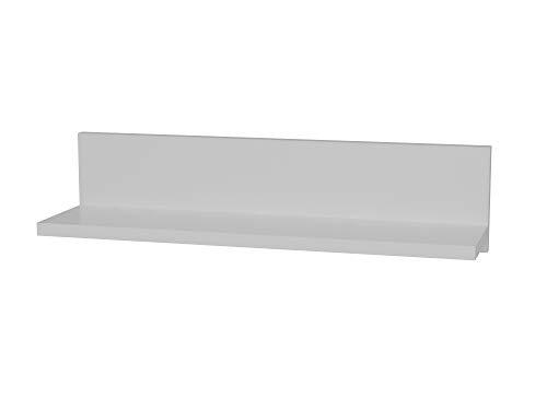 Alphamoebel 2473 Novella K5 - Estantería Flotante de Pared, Madera, para salón, Madera, Color Blanco, Rectangular, 60 x 14,5 x 14,5 cm