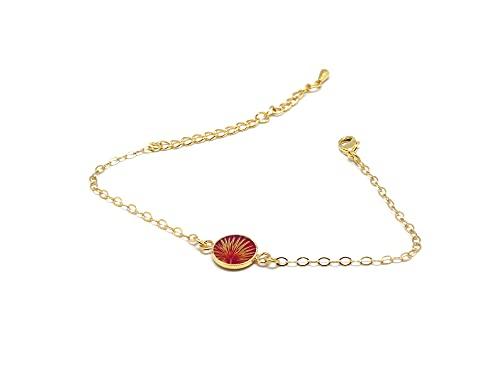 Pulsera PALMIER pan de oro rojo ajustable resina de oro exótico
