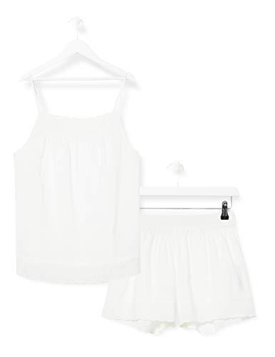 Iris & Lilly Damen Pyjama-Set aus Baumwolle, Weiß (Weiß), L, Label: L