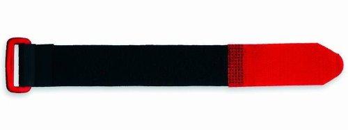 VSE 493385 - Abrazaderas de velcro (25 mm de ancho x 300 mm de largo), color negro y rojo