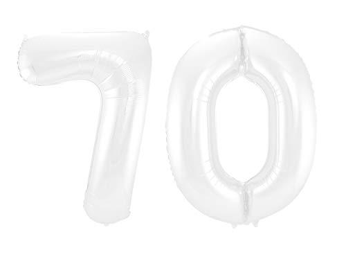 Folat 99610 - Globo de plstico (86 cm), diseo del nmero 70, color blanco