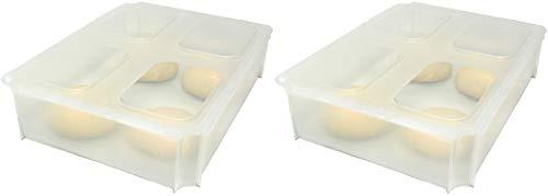 2x Teigballenbehälter Pizzaballenbox Pizzaballenbehälter Hefeteig Behälter transluzent Größe 35,5 x 27,5 x 8,5 cm + 2x Klickdeckel