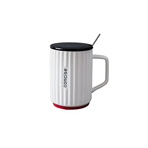 Taza de cerámica con tapa cuchara simple taza de café hombres y mujeres hogar taza oficina pareja agua taza leche
