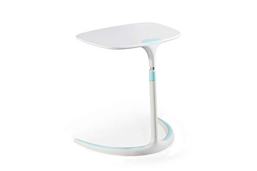 """C Table Adjustable End Table (25""""-32"""" H), ALFA Furnishing Sofa Table Bed Table Mobile Laptop Desk for Home 18""""x 25""""x 33"""" - White + Blue"""