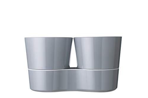 Rosti Mepal 108616043400 Pot Hydro pour Herbes Aromatiques Twin Mélamine Gris 27,3 x 13,7 x 22 cm
