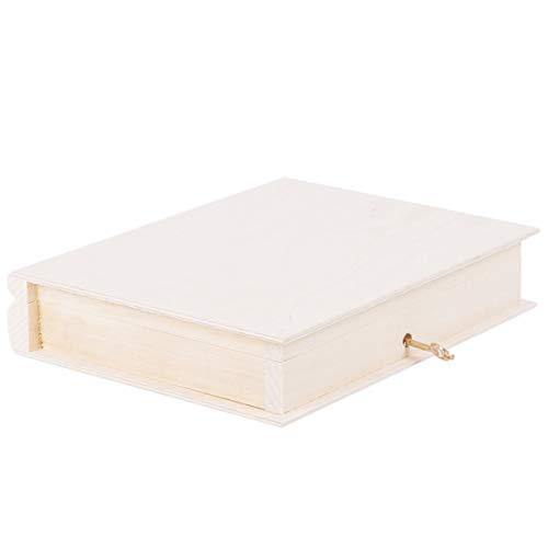 holzalbum Libro de madera natural de 0,7 litros, caja de fotos con llave, 21 x 17 cm