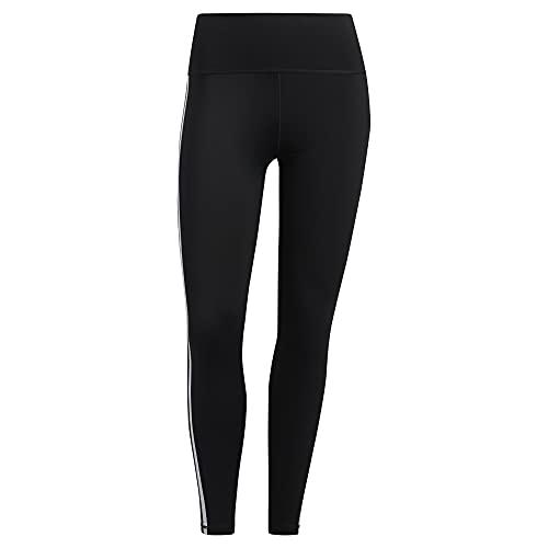 adidas Mallas Ajustadas Believe This 2.0 de 3 Rayas 7/8 para Mujer, Mujer, Ceñidos, GLO06, Negro/Blanco, 4X