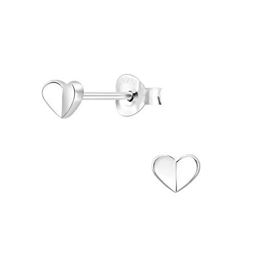 Laimons Pendientes infantiles con forma de corazón, 5 mm, brillante, plata de ley 925