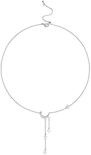 Yiffshunl Collar Lindo Collar de Estrella y Luna Estrella Brillante para niñas Collar de Asfixia Regalos de joyería Fina de Boda