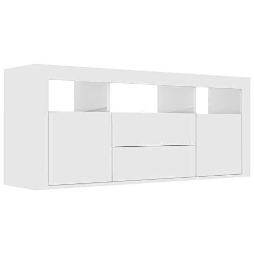 pedkit TV-Schrank mit 2 Schubladen, 2 Türen und 3 offenen Fächern Fernsehtisch TV Lowboard TV Tisch TV Board Fernsehschrank Hochglanz-Weiß 120 x 30 x 50 cm Spanplatte