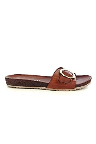 I Love Donna 15023 Sandales basses pour femme en cuir véritable, couleur rouge, Brique, 37 EU