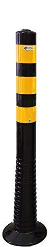 Poller, Pfosten, Absperrpfosten flexibel schwarz Höhe 750mm Ø 80mm gelb reflektierende Streifen Klasse RA2 selbstaufrichtender Sperrpfosten